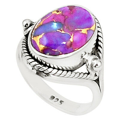 Purple Copper Turquoise 925 Sterling Silver Ring Jewelry Size 6.5 M38264