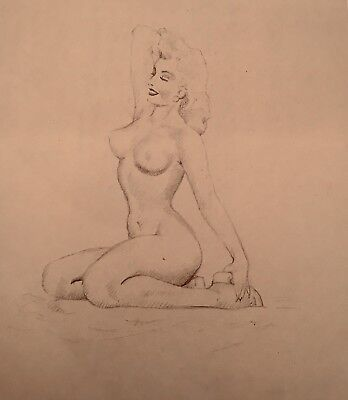 TED WITHERS DRAWING Marilyn Monroe ORIGINAL 50s PIN-UP Vintage Pinup Nude Blonde