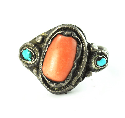 Antique Sterling Silver Oval Coral Turquoise Accent Ring 19mm Size 10
