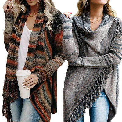 Women Ladies Knitted Cardigan Jacket Irregular Tassel Coat Loose Sweater Outwear