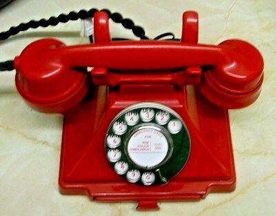 Rare Red Bakelite 232 Pyramid Style Telephone