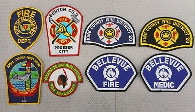 8 different Washington fire department patches Lot A