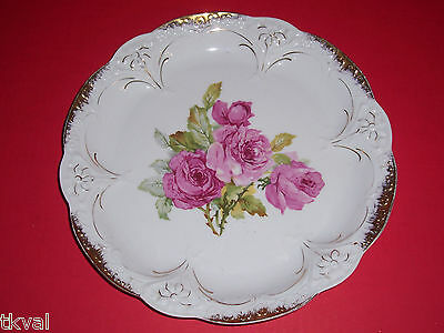 Germany Carl Tielsch ANTIQUE CAKE PLATTER /CHARGER CABBAGE PINK ROSES