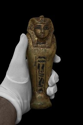 Rare EGYPTIAN STATUE ANTIQUES EGYPT KING TUT Ushabti Shabti Gold Paint Stone BC