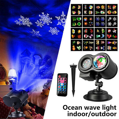 LED Ocean Wave Projector Light Landscape Remote Lamp Halloween Xmas 16 Slides