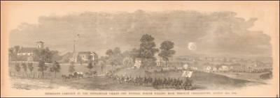 CHARLESTOWN, WEST VIRGINIA, SHERIDAN, CIVIL WAR, antique engraving original 1885