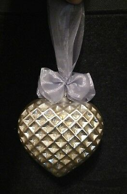 Oberfrankische Glass Silver Color Glass Heart Ornament Made in Germany