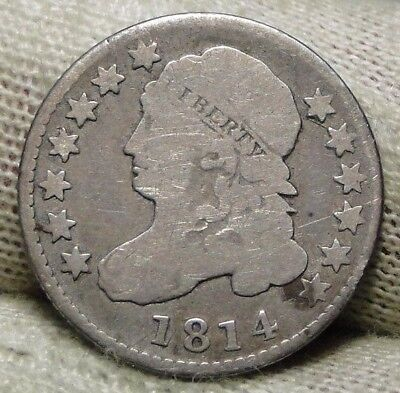 1814 Capped Bust Dime 10 Cents - Nice Coin, Free Shipping  (6630)