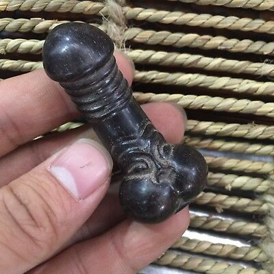 Collectible Old Chinese Wood Handwork Carved Rare Male Big Cock Antique Statue