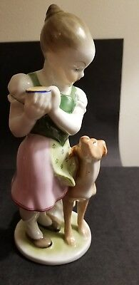 "HEREND, ""Little Jealous Girl with Dog"".  8+  inches tall. Hand painted."