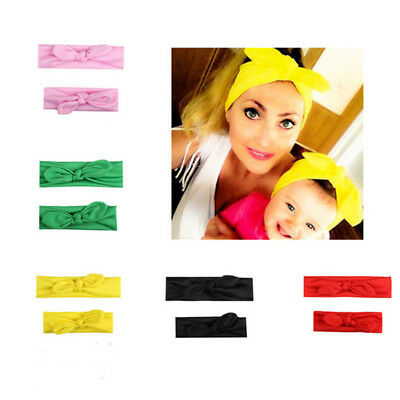 2Pcs/Pair Women Girls Mother&Daughter Rabbit Ear Child Bow Headband Hair Band LD