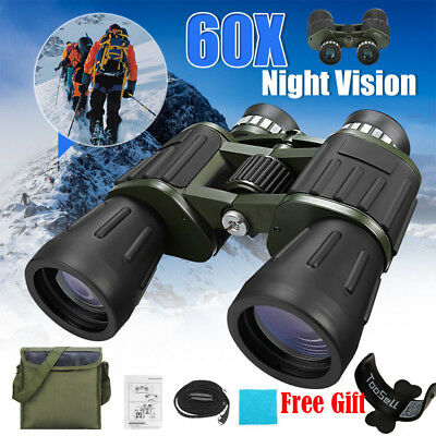 60x50 Zoom Day Night Vision Outdoor Travel HD Binoculars Hunting Telescope + Bag