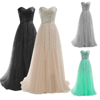 Chic Sequin Strapless Formal Prom Cocktail Party Ball Gown Long Bridesmaid Dress