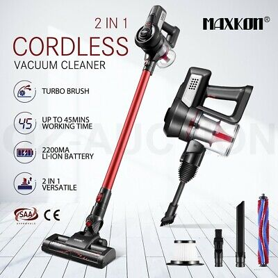 MAXKON Cordless Vacuum Cleaner Upright Stick Handheld Vac Bagless W/ 2-Speed Red