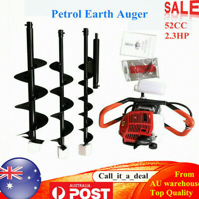 "Petrol Post Hole Digger Earth Auger Fence Borer+4"" 6"" 8"" Drill Bit 52CC 2.3HP AU"