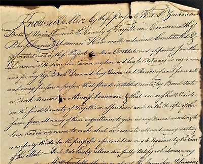 1788 antique BETTS union township fayette pa POWER OF ATTORNEY legal handwritten
