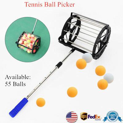 Tennis Ball Picker Ping-pong Hopper Collector Mower Pick Up 55Ball Adjustable US