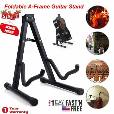 High Quality Foldable Musician's Gear A-Frame Acoustic Guitar Stand Black New