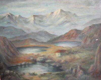 Antique oil painting mountain lakes