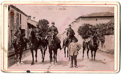 Cdv.Gendarmes à Chevaux.Gendarme.Cheval.Photo originale Citrate 1895.Tampon dos.