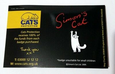 Pin Badge Simons Cat - Paws Upwards (Cats Protection Charity Listing)