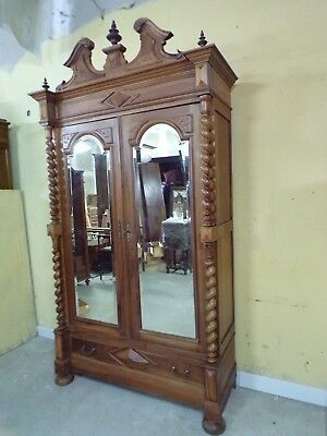 Chateau Carved Antique Armoire C1890