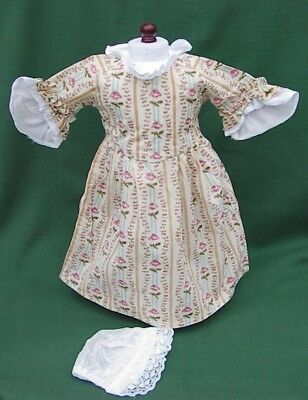 RETIRED ROSE GARDEN MEET DRESS + MOB CAP reproduction for American Girl FELICITY