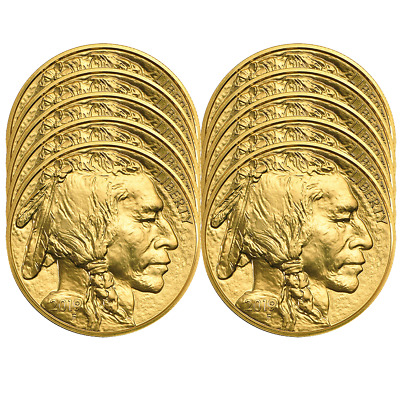 Lot of 10 - 2019 $50 American Gold Buffalo 1 oz Brilliant Uncirculated