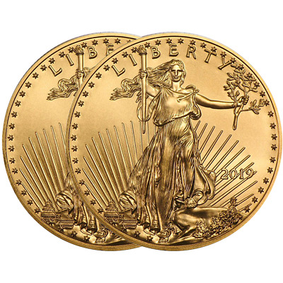 Lot of 2 - 2019 $10 American Gold Eagle 1/4 oz Brilliant Uncirculated