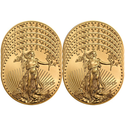 Lot of 10 - 2019 $10 American Gold Eagle 1/4 oz Brilliant Uncirculated