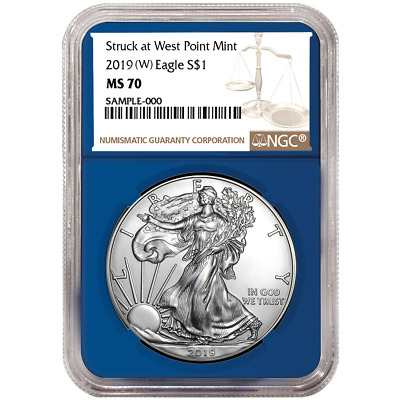 2019 (W) $1 American Silver Eagle NGC MS70 Brown Label Blue Core