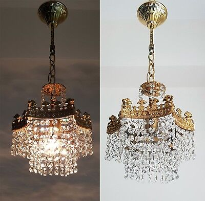 Pair of Antique Star Shape Brass & Crystals small RARE !! Chandelier from 1950's