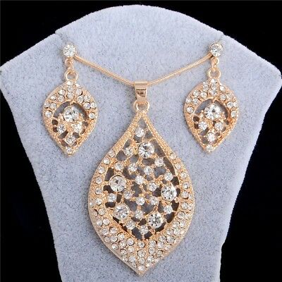Fashion Women Bridal Gold Crystal Pendant Necklace Earrings Wedding Jewelry Set