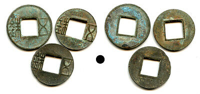 Lot of 3 various Eastern and Western Han Wu Zhu cash coins, China, 118 BC-200 CE