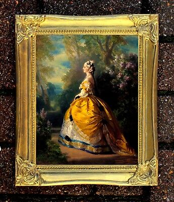 Stunning Oleograph on Canvas -  Portrait of a Lady in a Yellow Gold Gown