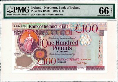 Bank of Ireland Ireland-Northern   100 Pounds 2005 Prefix A PMG  66EPQ