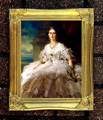 Fine Oleograph on Canvas -  Portrait of an Elegant Woman in an Elaborate Gown