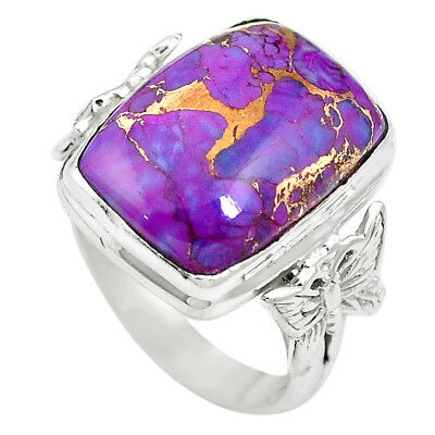 Purple Copper Turquoise 925 Sterling Silver Ring Jewelry Size 6 M59970