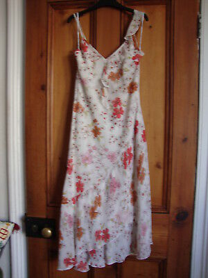 New Look.  Cream Print Lined Frilled Strappy Dress. Size 14.
