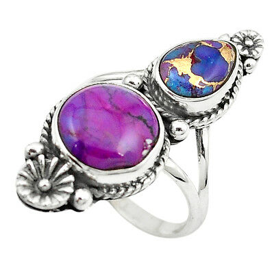 Purple Copper Turquoise 925 Sterling Silver Ring Jewelry Size 1 1/8 M53300