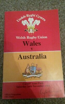 wales vs Australia rugby programme 1984