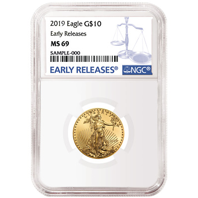 2019 $10 American Gold Eagle 1/4 oz. NGC MS69 Blue ER Label