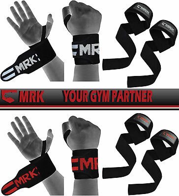 MRK Padded Wrist Supports RDX Weight Lifting Bar Straps Training Gym Gloves Hand