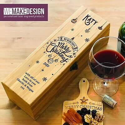 Valentines Day Gift * Personalised Bamboo Wine Box with 4 Accessories
