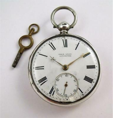 Working Antique Solid Silver Fusee Fob Pocket Watch & Key John Lyon  - Liverpool