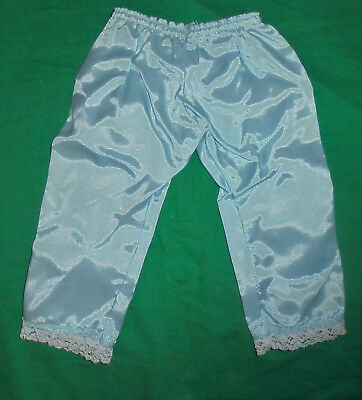 1940S 1950S VINTAGE  DOLL CLOTHES Blue Satin Pants W/Lace Legs