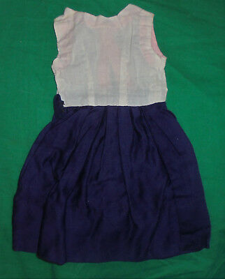 "1940S 1950S VINTAGE  DOLL CLOTHES Blue & White Dress 7"" Chest"