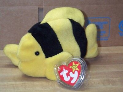 TY Beanie Baby Babies Bubbles Fish Yellow with Black Stripes 7-2-1995 PVC Pellet