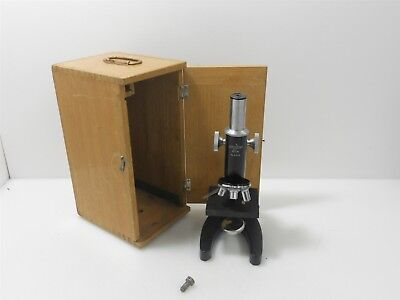 Vintage Crescent 600x Microscope with Wooden Case