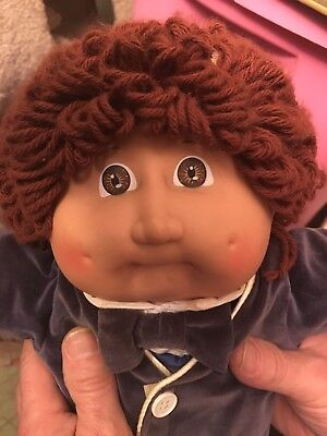 Vintage Cabbage Patch White Boy Doll 1985 Brown Hair W Pacifier